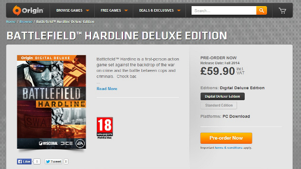 Battlefield Hardline available to pre-order; actual game details won't be available until June 9th