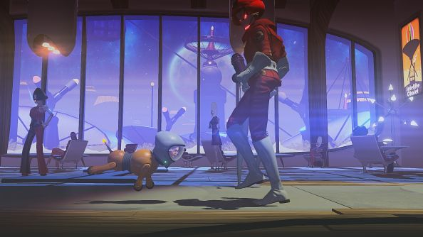 Headlander is Double Fine's next game, a Metroid-ish adventure game where sometimes you're a robot dog