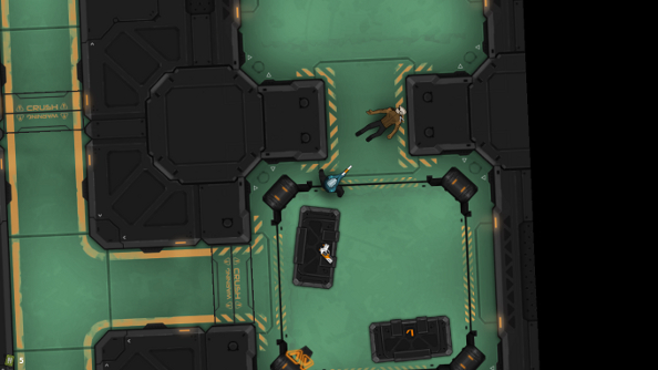 A screenshot from Heat Signature, a close in, top-down view of combat aboard a spaceship