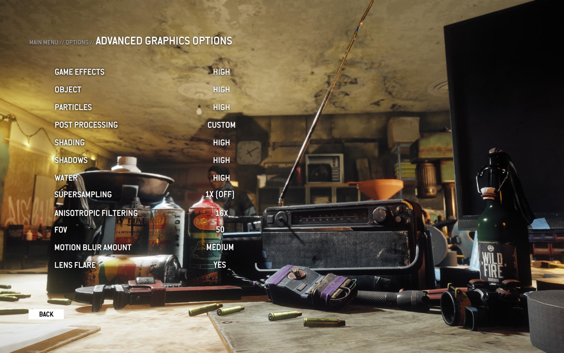 Homefront: The Revolution advanced graphics menu