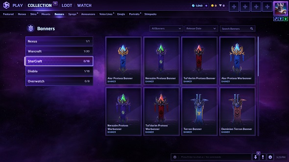 HOTS collection screen