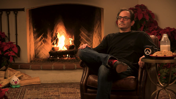 Screenshot of Jeff Kaplan in front of fireplace