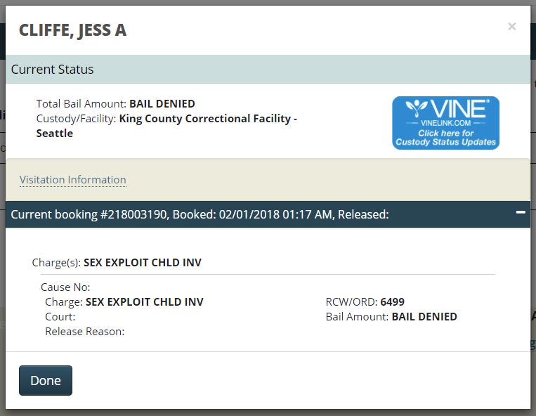 jess cliffe booking record