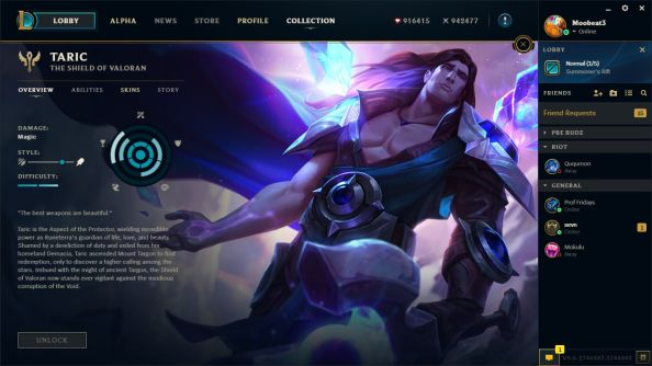 League client update character pages