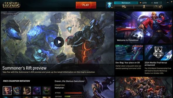 The updated League of Legends client landing page.