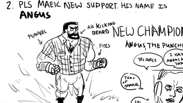Player submits 'Angus' support champion design document to