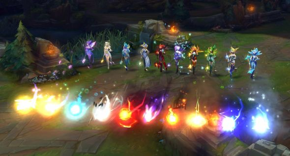All ten of Elementalist Lux's forms, with particle effects