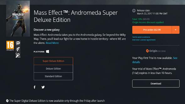 Mass Effect: Andromeda Origin Access trial