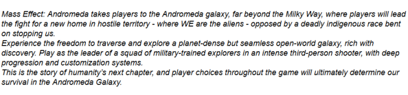 Mass Effect Andromeda plot