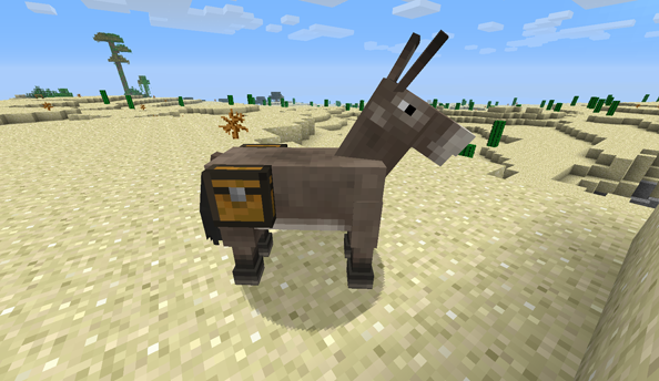 Minecraft snapshot 13w19a means that sneaking up on donkeys is now sound survivalism