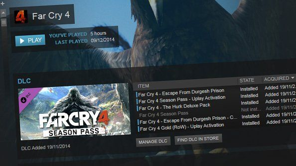 Steam beta update displays your DLC in a sensible and orderly fashion