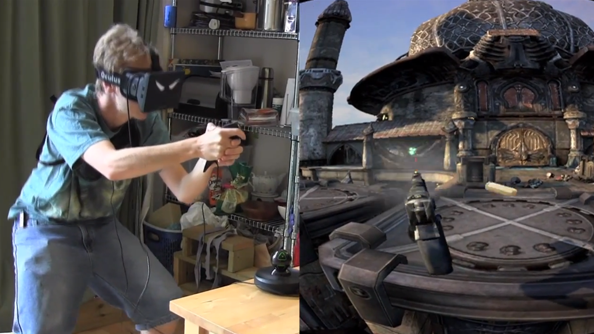 Oculus Rift combined with Hydra controller to make immersive cover shooter setup