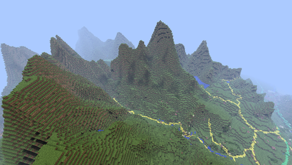Snowdonia, as seen from the air in Minecraft.