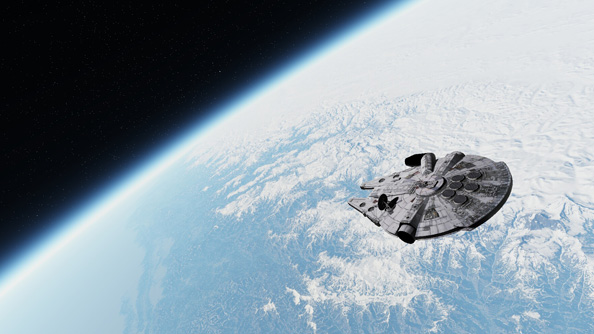 You can fly a Millennium Falcon in Outerra, the powerful Earth simulation engine