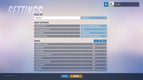 Overwatch custom game settings