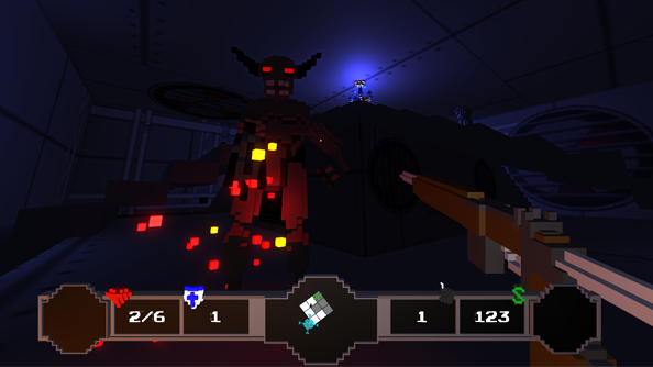 A demon looms in the pixelated darkness over the player's first-person perspective in a dark blue-black room.