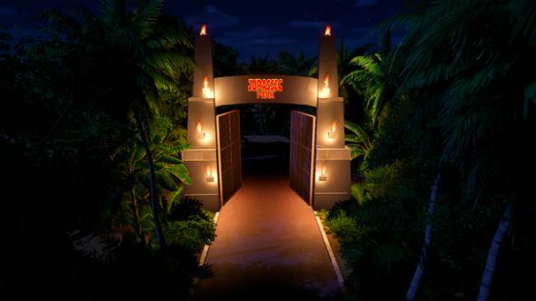 Jurassic Park entrance planet coaster