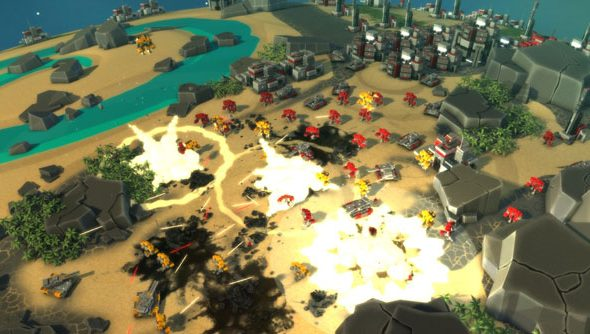 Planetary Annihilation is a game about sitting in the sky, so far away from giant robots that they look small.