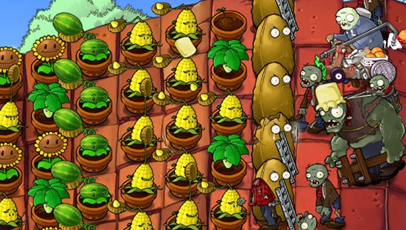 Plants vs Zombies, pictured here literally on the house.