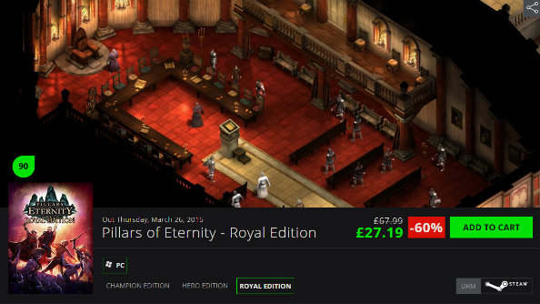 Green Man Gaming offer 60% off Pillars of Eternity and more in the 'Level Up' sale
