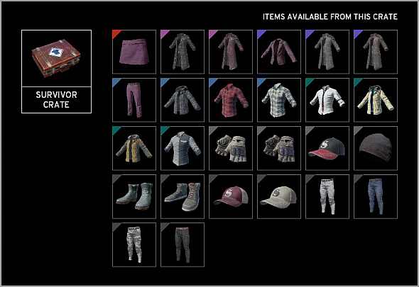 The contents of the Survivor Crate