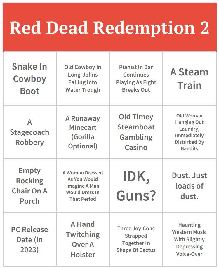 Red Dead Redemption 2 Bingo