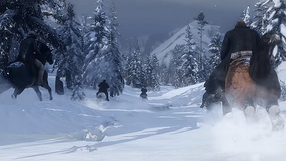 Red Dead Redemption 2 snowy mountains