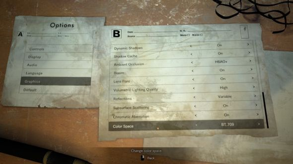 Resi 7 PC options screen