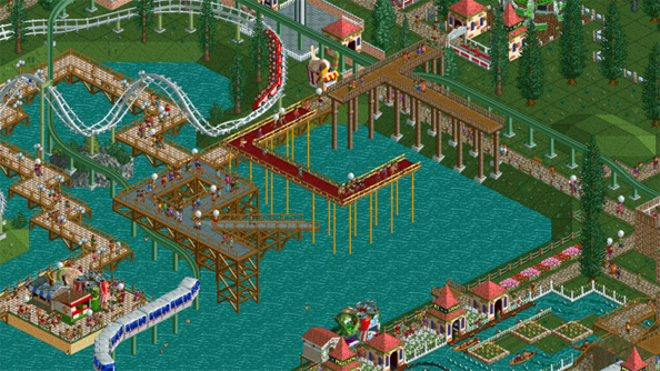 For those who can't Lego of the past: RollerCoaster Tycoon in plastic bricks
