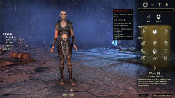 The Elder Scrolls Online Character Creation
