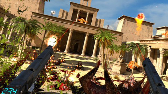 Serious Sam VR: The Last Hope gameplay lets you dual-wield the waves away