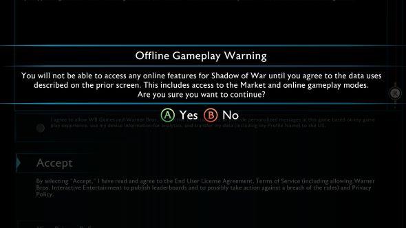 Shadow of War offline gameplay warning