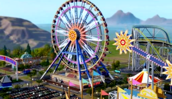 SimCity Amusement Park expansion to rollercoaster into town on 28th May
