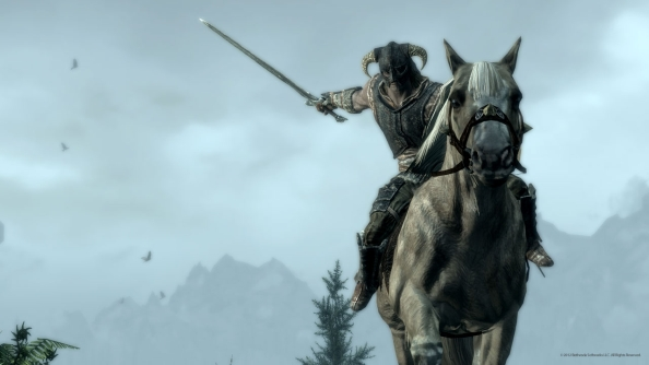 Skyrim patch adds mounted combat. Also: makes game more stable