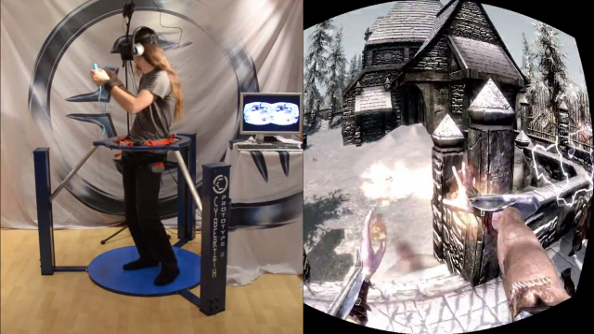 Skyrim in VR with Oculus Rift, Wii Mote and Cyberith Virtualizer: Nords getting punched, dragons getting shot