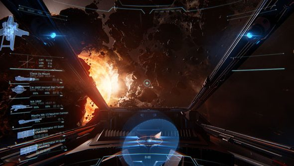 Star Citizen, as seen from the cockpit. It is nearly as nice as the Elite: Dangerous cockpit. Nearly.