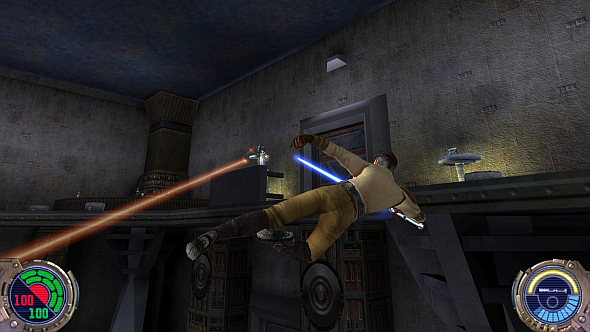 This is floating sideways in Jedi Outcast, which was a THING YOU COULD DO