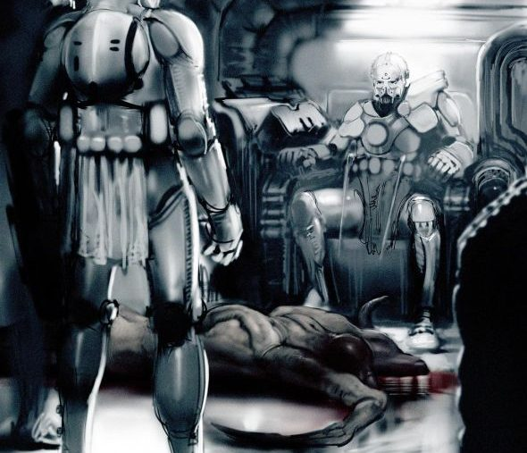 Concept art, with troopers and a dead alien