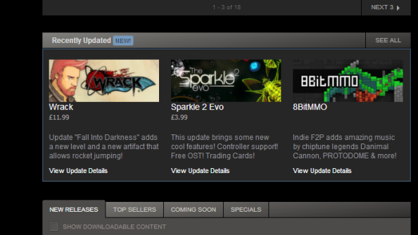 Steam Recently Updated section lets you keep on top of changes to your games