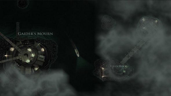 A ship sails past some shoals in sickly green water deep underground in Sunless Sea.