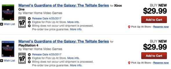 Telltale's Guardians of the Galaxy release date