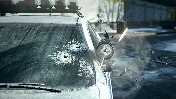 A shattered NYPD police car, with star-like bullet holes in the windshield.