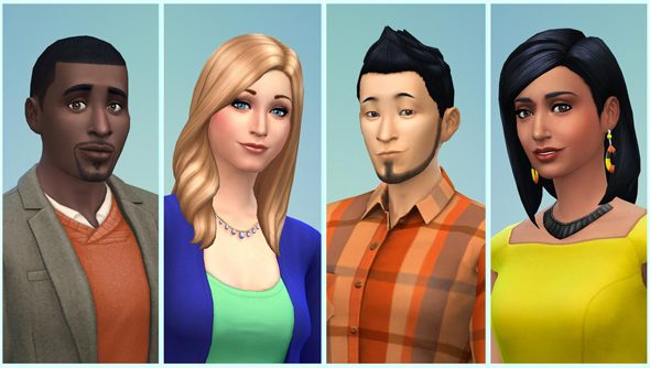 Just some of the faces available in The Sims 4.