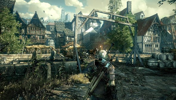 An urban view of The Witcher 3: Wild Hunt.