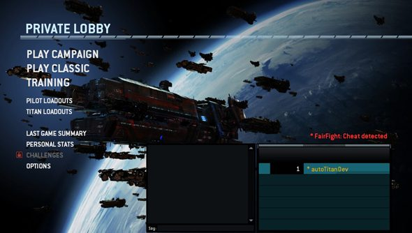 FairFight leaves a quiet note on Titanfall cheaters' lobby screen.