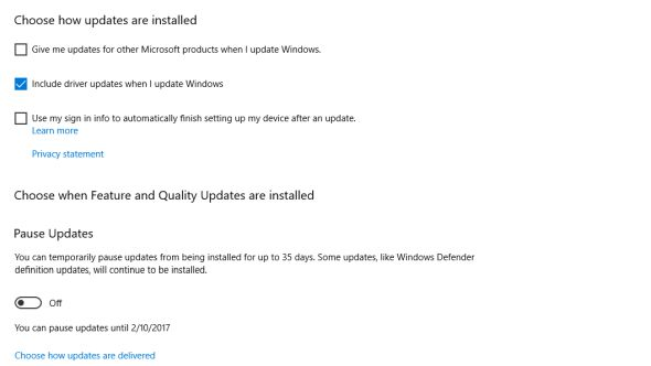 Windows Update driver opt out