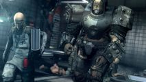 Wolfenstein: The New Order villain Deathshead gets stuck into some light reading.