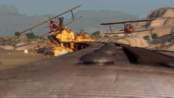 World of Warplanes trailer shows lush beaches, clogged cities, and trainsplosions