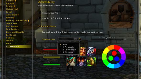 World of Warcraft colour blind options menu